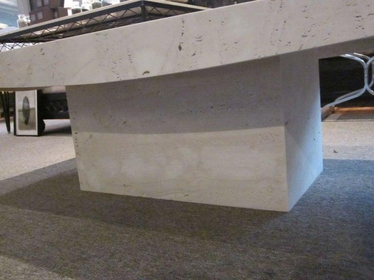 White Italian Travertine Rectangular Coffee Table, Contemporary For Sale 2