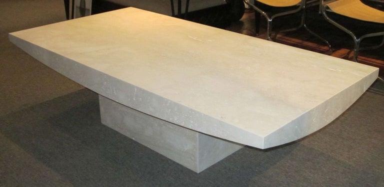 White Italian Travertine Rectangular Coffee Table, Contemporary For Sale 3