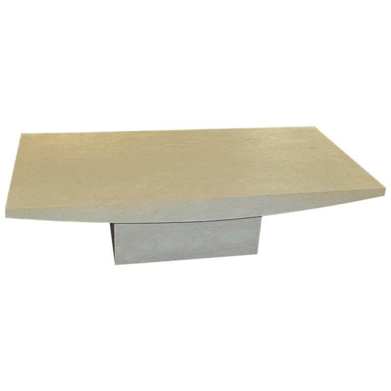 White Italian Travertine Rectangular Coffee Table, Contemporary For Sale