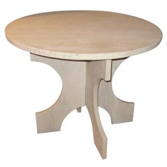 White Italian Travertine Round Top Side Table on C Shape Base, USA, Contemporary