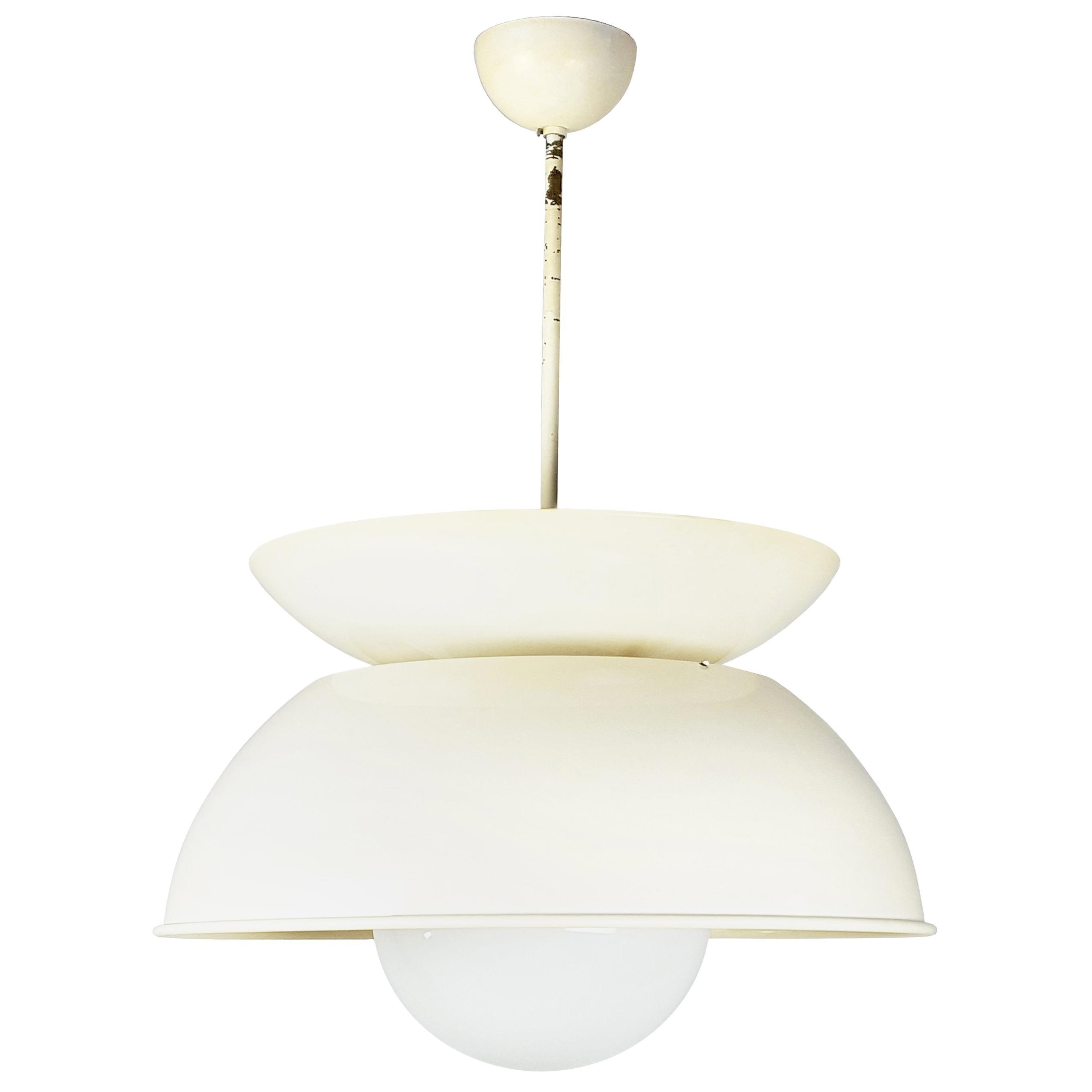 White/Ivory 1960s Cetra Pendant Lamp by V. Magistretti for Artemide