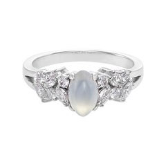 White Jade and Marquise Diamond Unique Engagement Ring in 18K White Gold