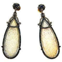 White Jade, Diamond, Sapphire in Gold an Silver Chandelier Earring