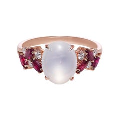 White Jade, Marquise Rubies and Diamond Unique Engagement Ring in Rose Gold