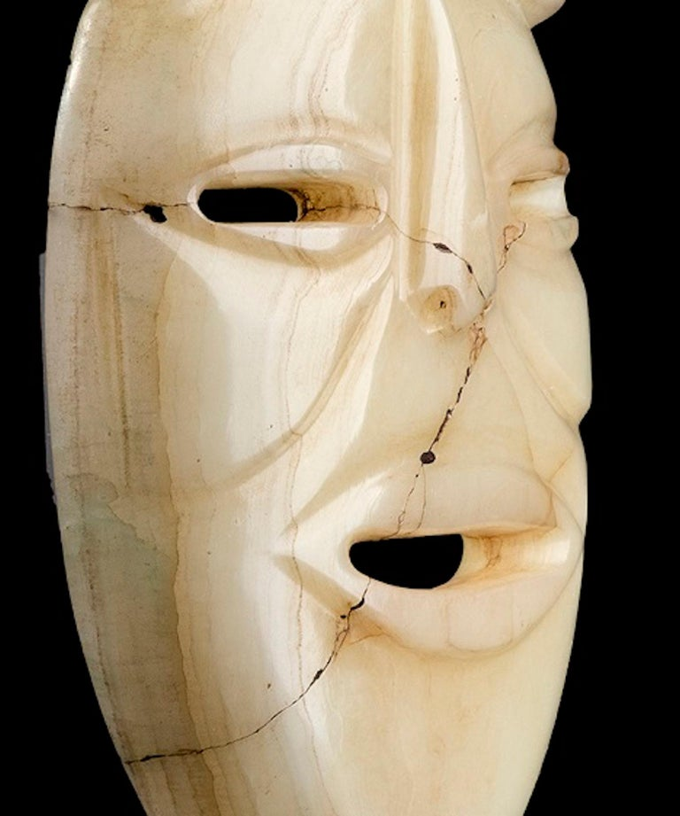 Mexican White Jade Mask Olmec Style, Mexico For Sale