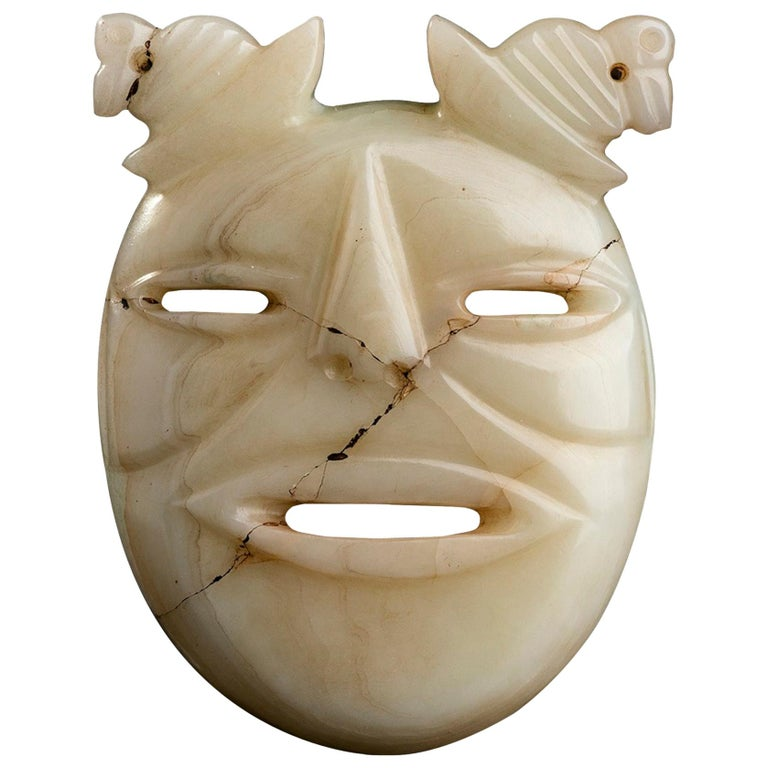 White Jade Mask Olmec Style, Mexico For Sale