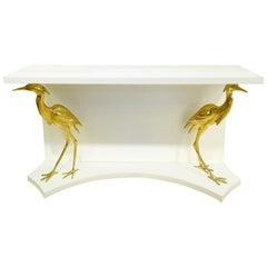 White Lacquer and Brass Egrets Console Table Manner of Jacques Duval-Brasseur