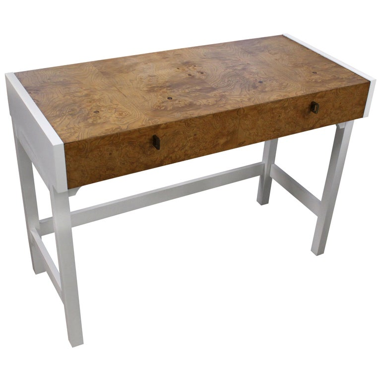 White Lacquer Burl Wood Top Petit Desk Console Hall Table