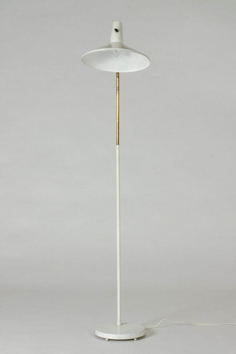 Scandinavian Modern White Lacquer Floor Lamp by Bertil Brisborg For Sale