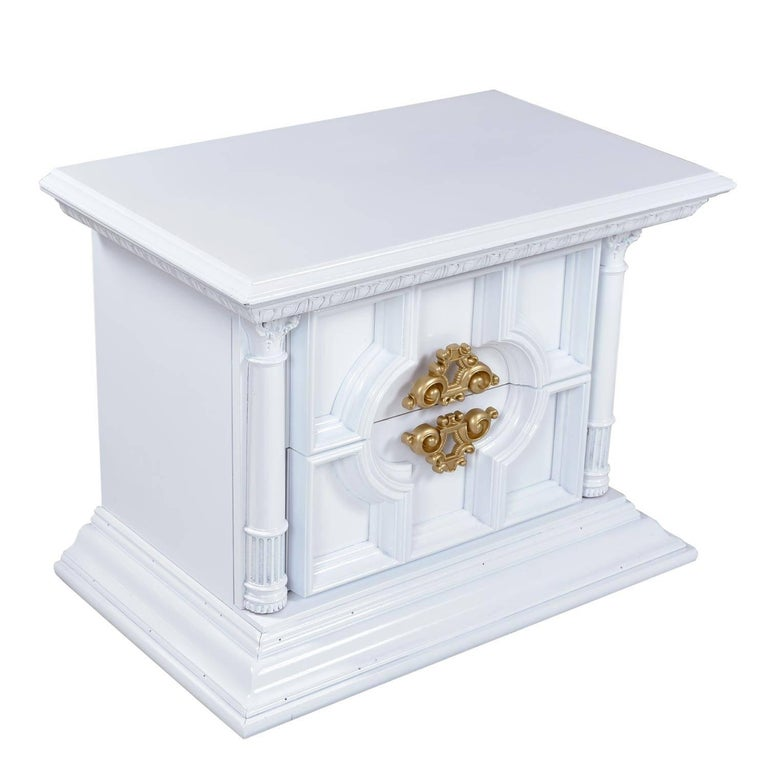 white laquer furniture. Unique Furniture White Lacquer Hollywood Regency Monumental Greek Revival End Table  Nightstands For Sale 1 Throughout Laquer Furniture