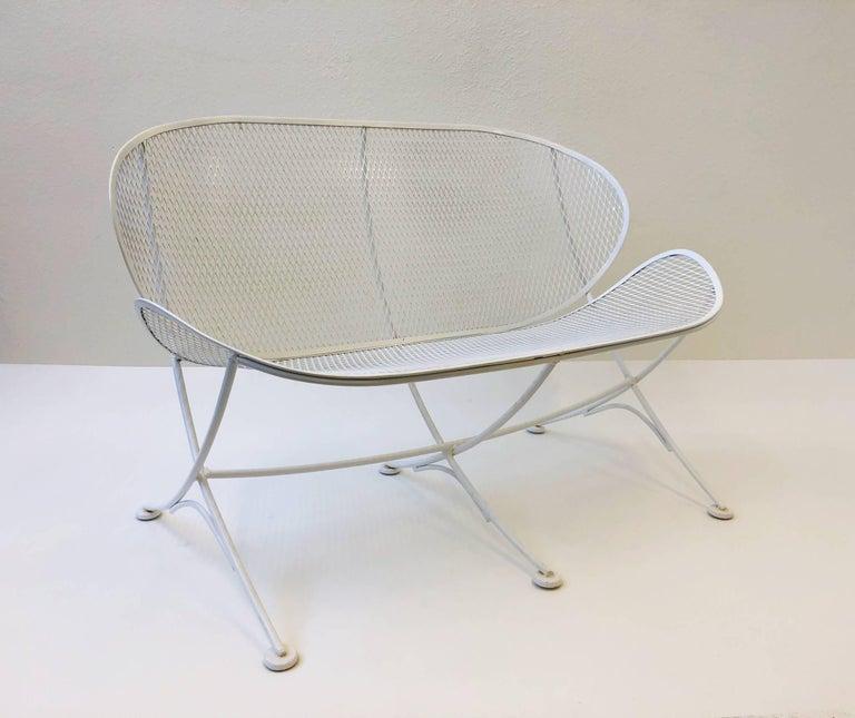 Mid-Century Modern White Lacquer Outdoor Settee Sofa by Maurizio Tempestini for Salterini For Sale