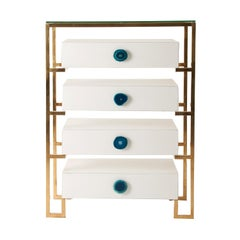 White Lacquer Wooden and Agate Handles Chest of Drawers