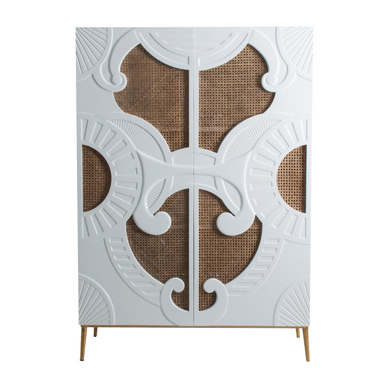 European White Lacquer Wooden and Woven Cane Cabinet For Sale