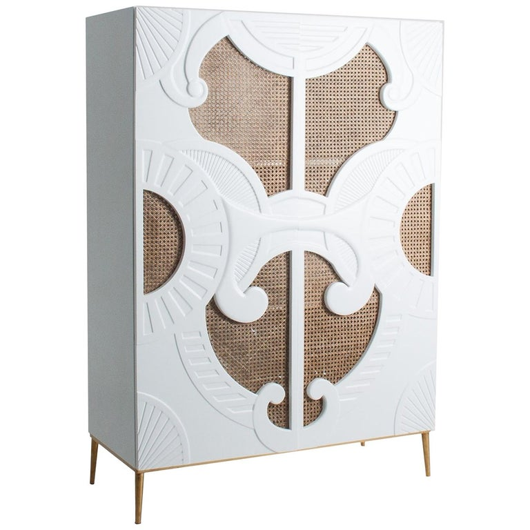 White Lacquer Wooden and Woven Cane Cabinet For Sale