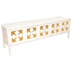 White Lacquered and Gold Leaf Console or Cabinet Vintage