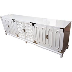 White Lacquered and Nickel Silver Cabinet or Buffet Vintage, 1960s