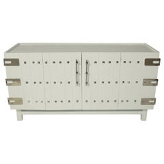 White Lacquered Chest with Nickel Hardware in the Manner of Tommi Parzinger