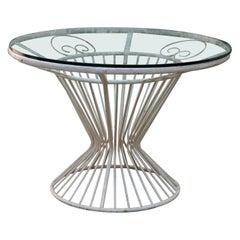 Midcentury Italian white Lacquered Iron Round Table
