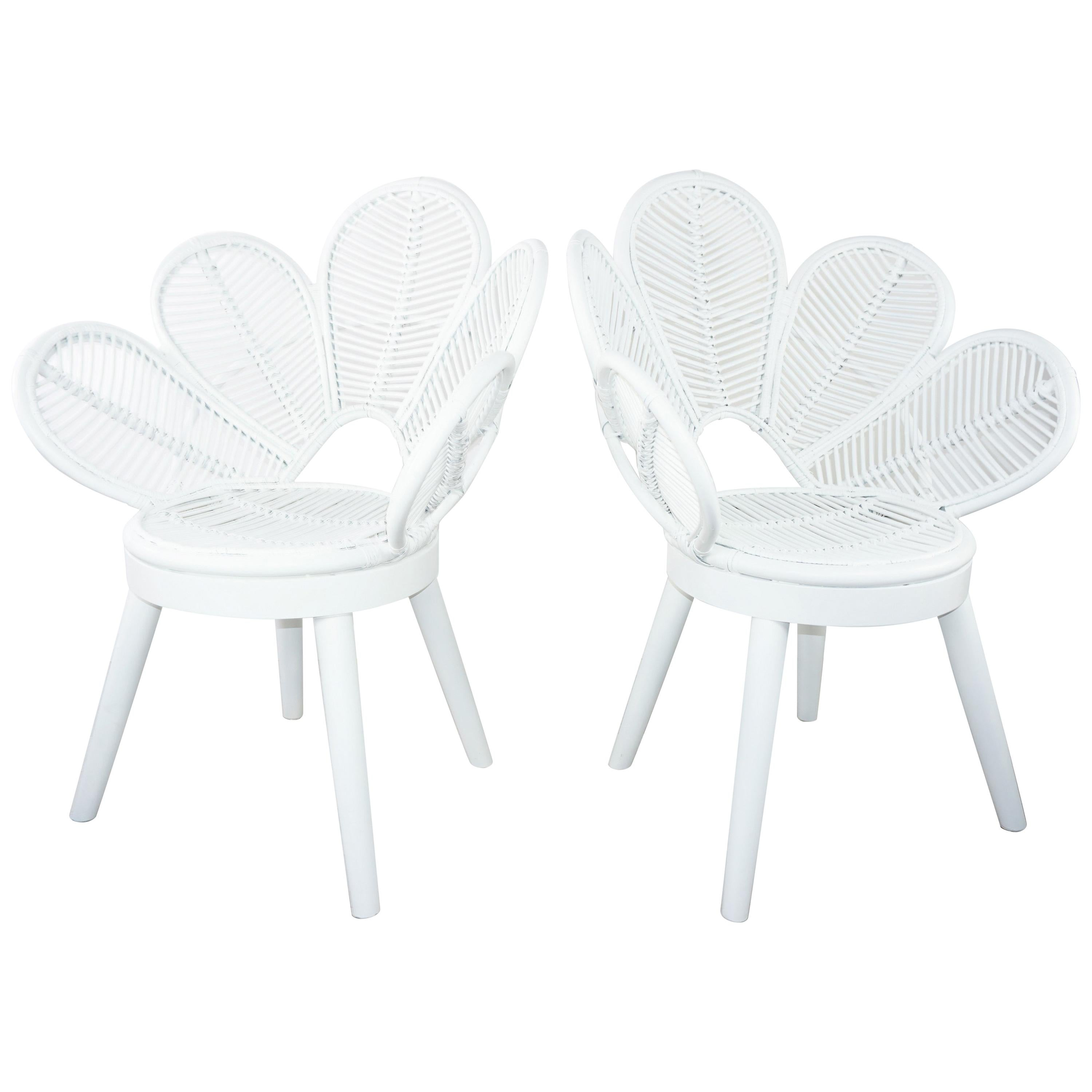 White Lacquered Mahogany Wooden Feet and Rattan Pair of Flower Armchairs
