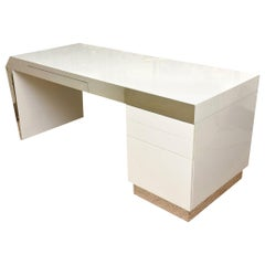 White Lacquered over Wood and Stainless Steel Wrap Sculptural Desk Vintage