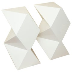 White Lacquered over Wood Cubist Form Art and Sculpture Pedestals Pair Vintage