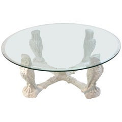 White Lacquered Owl Motif Coffee Table Base, Atrbutted to Gampel & Stoll
