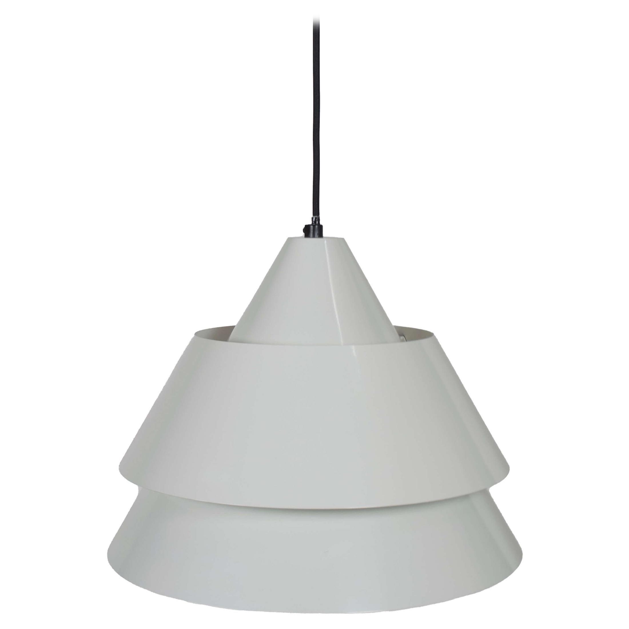 White Lacquered Pendant Lamp 'Zone' by Jo Hammerborg for Fog & Mørup, Denmark