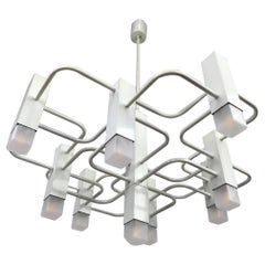 White Lacquered SA Boulanger Geometric Chandelier, 1970s