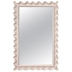 White Lacquered Scalloped Mirror, in the Manner of Serge Roche