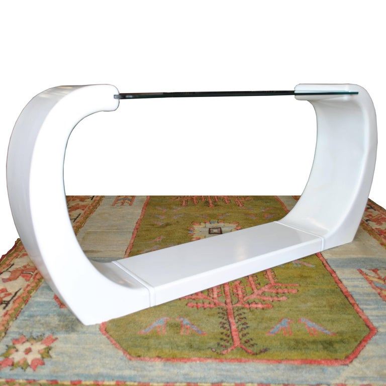 Mid-Century Modern White Lacquered Scroll Glass Top Console Table For Sale