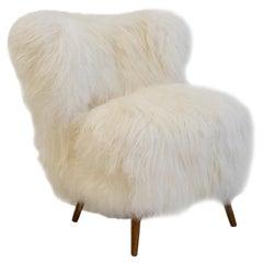 White Lambskin Upholstered Lounge Chair, circa 1950