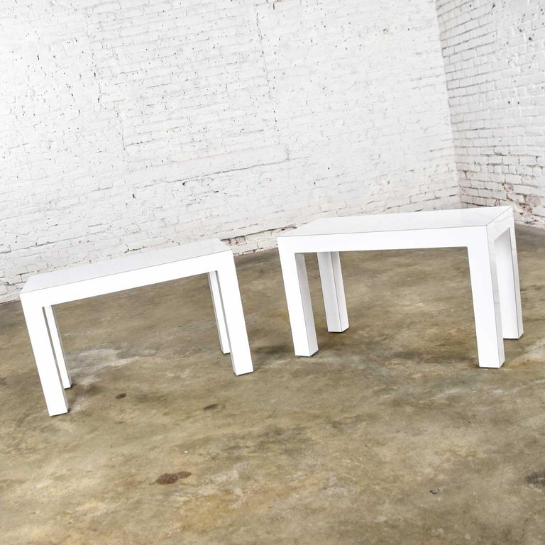 White Laminate Parsons Style Side or End Tables with Glass Tops, a Pair For Sale 5