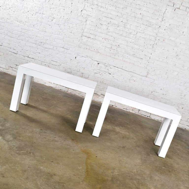 White Laminate Parsons Style Side or End Tables with Glass Tops, a Pair For Sale 6