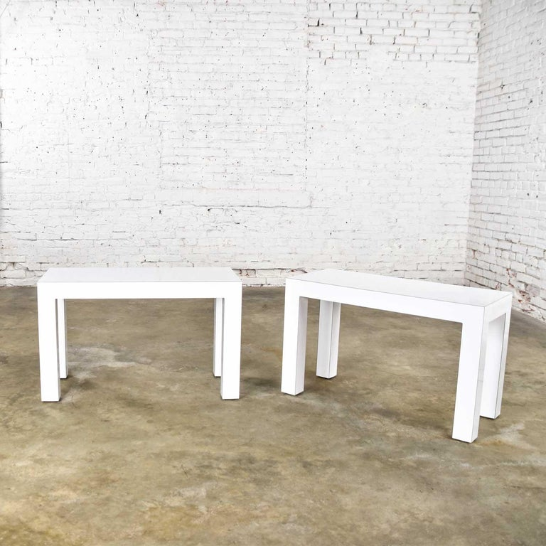 White Laminate Parsons Style Side or End Tables with Glass Tops, a Pair For Sale 7