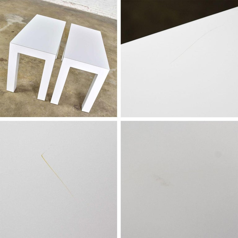 White Laminate Parsons Style Side or End Tables with Glass Tops, a Pair For Sale 9