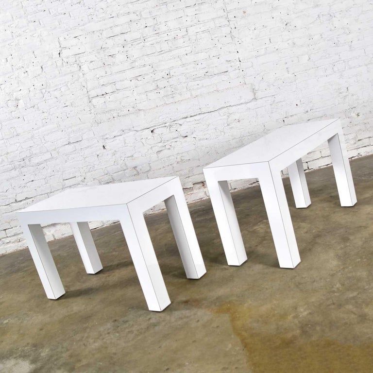 American White Laminate Parsons Style Side or End Tables with Glass Tops, a Pair For Sale