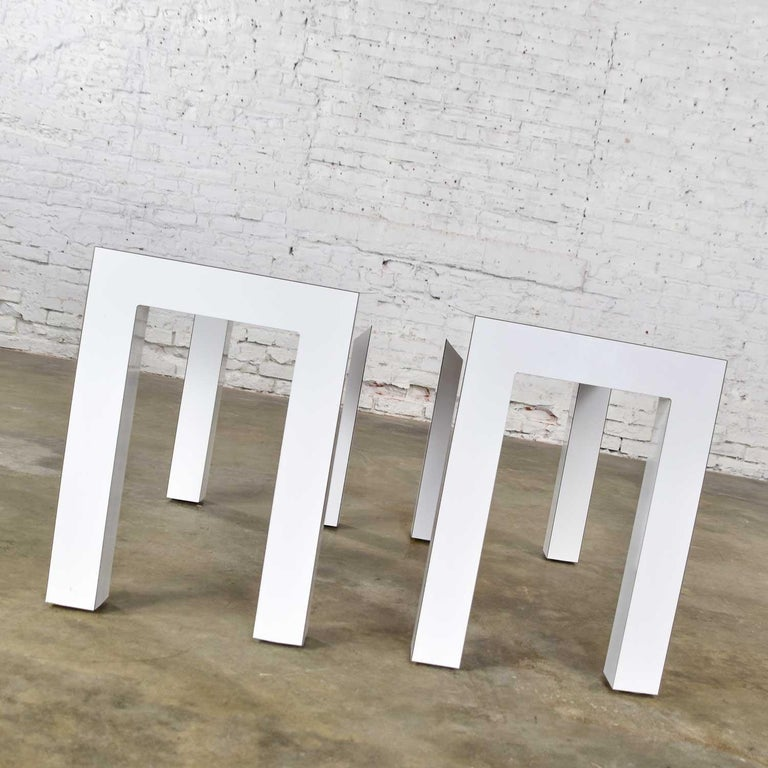 White Laminate Parsons Style Side or End Tables with Glass Tops, a Pair For Sale 1