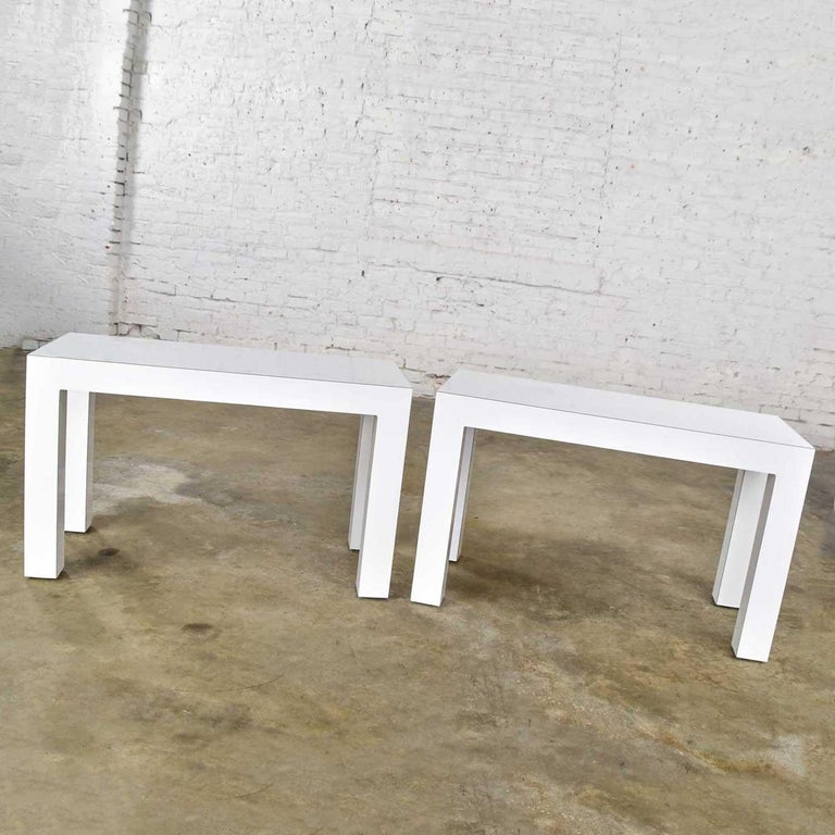 White Laminate Parsons Style Side or End Tables with Glass Tops, a Pair For Sale 2