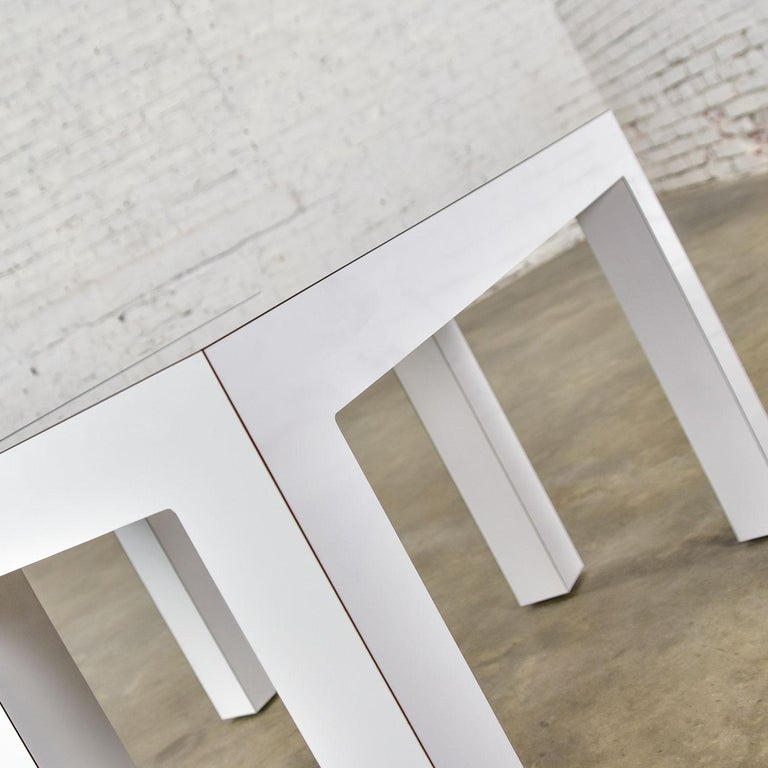 White Laminate Parsons Style Side or End Tables with Glass Tops, a Pair For Sale 3