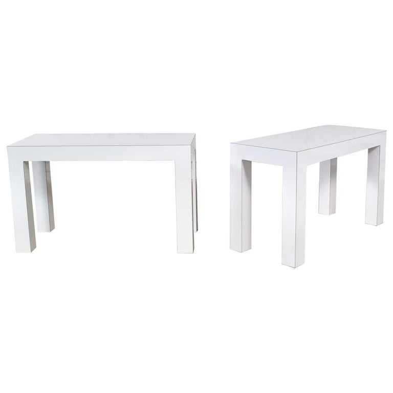 White Laminate Parsons Style Side or End Tables with Glass Tops, a Pair For Sale