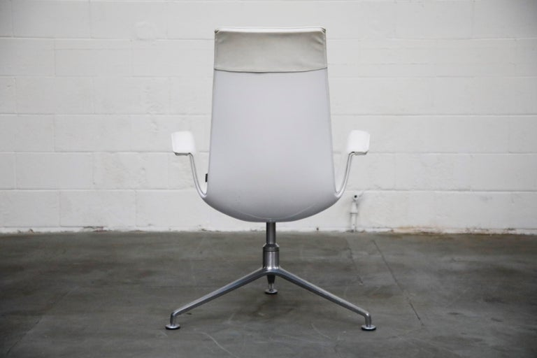 Aluminum White Leather 'Bird' Swivel Chair by Preben Fabricius & Jørgen Kastholm, Signed For Sale
