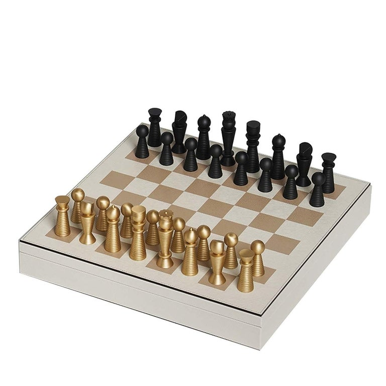 White Leather Chessboard For Sale