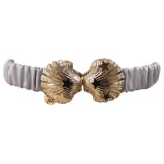 White leather gold buckle shell belt
