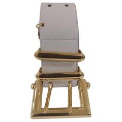 White leather gold hardware belt NWOT