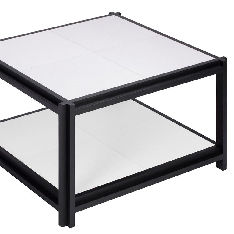 Italian White Leather II Coffee Table For Sale