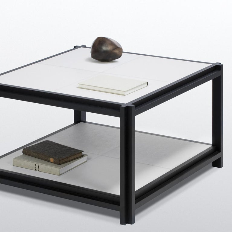 Contemporary White Leather II Coffee Table For Sale