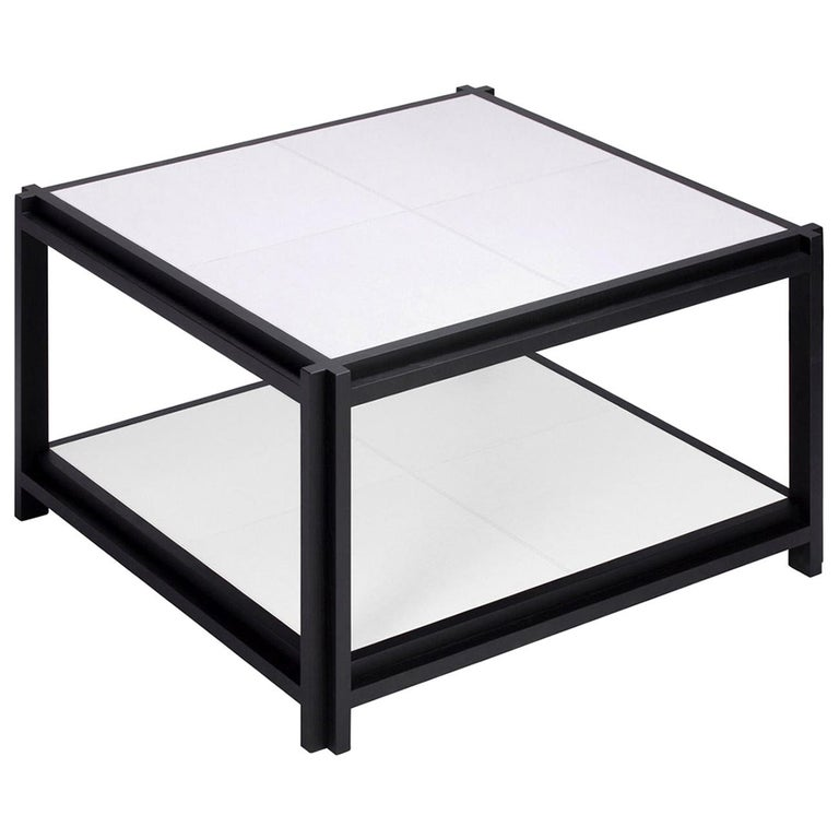 White Leather II Coffee Table For Sale