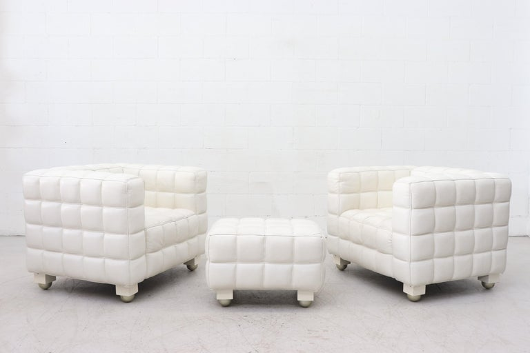 Brilliant White Leather Kubus Style Lounge Chairs With Ottoman Evergreenethics Interior Chair Design Evergreenethicsorg