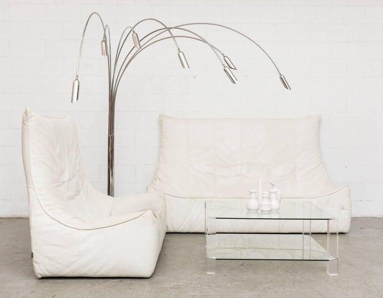 Mid-Century Modern White Leather