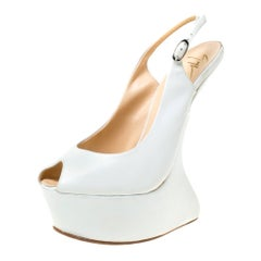 White Leather Slingback Heel Less Peep Toe Platform Sandals Size 38.5